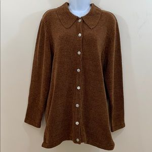Denim & Co. Front Button Long Sweater Size L